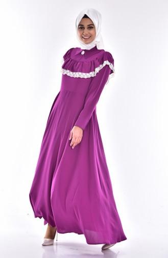 Kleid mit Spitzen 0045-01 Zwetschge 0045-01
