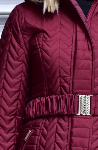 معطف موصول بقبعة بتفاصيل من الفرو 7002-04