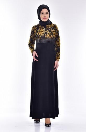 Çiçek Desenli Kadife Elbise 1532-01 Siyah Hardal