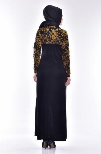 فستان مخمل بتصميم مورّد  1532-01 لون اصفر داكن واسود 1532-01