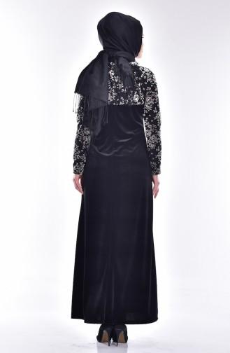 Çiçek Desenli Kadife Elbise 1532-03 Siyah Krem 1532-03