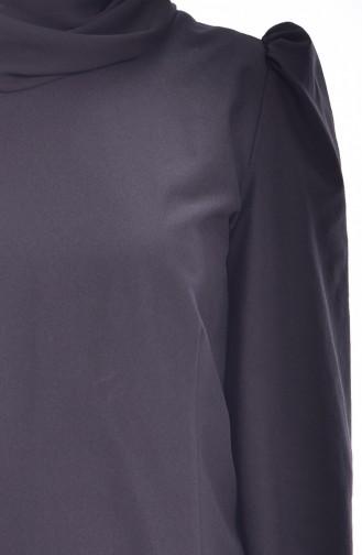 Blouse Détail Plissée 0028-03 Noir 0028-03