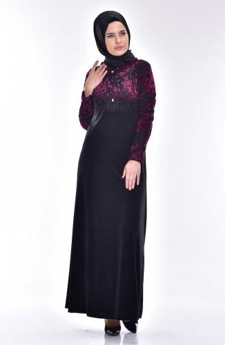 Flower Decorated Velvet Dress 1532-02 Black Fuchsia 1532-02