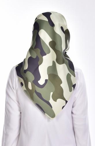 Echarpe Taffetas a Motif Camouflage 95043-01 Vert Militaire 01
