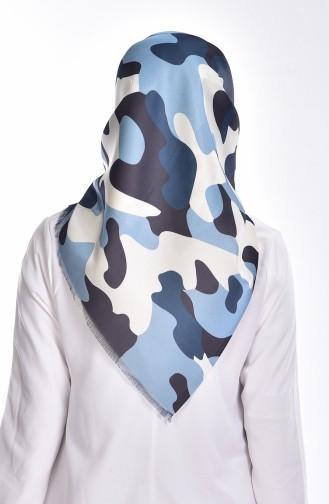 Echarpe Taffetas a Motif Camouflage 95043-02 Bleu Bébé 02