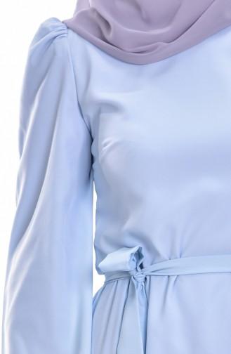 Kleid mit Gürtel 0032-03 Baby Blau 0032-03