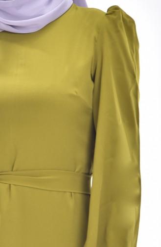 Kleid mit Gürtel 0032-04 Khaki Grün 0032-04