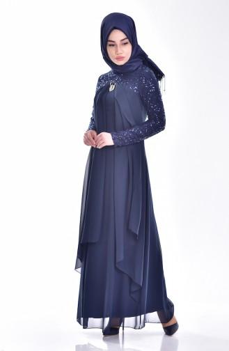 Navy Blue İslamitische Avondjurk 52651-03