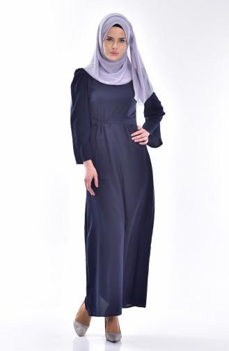 Kuşaklı Elbise 0032-07 Lacivert
