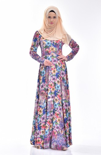 Robe a Motif Fleurs 0002-01 Bleu Roi 0002-01