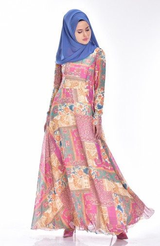 Gemustertes Weites Kleid 0035-01 Zwetschge Gelb 0035-01
