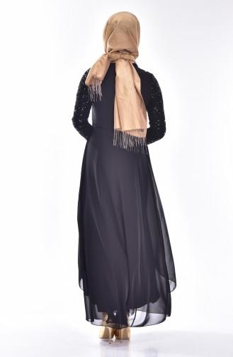 Broş Detaylı Şifon Abiye Elbise 52651-01 Siyah