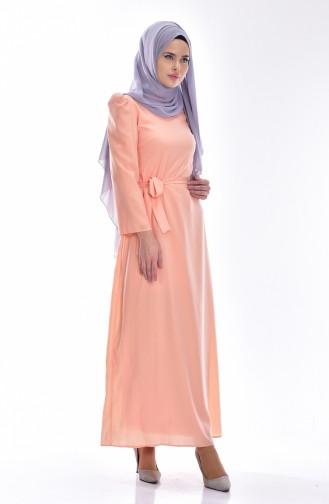 Kleid mit Gürtel 0032-02 Lachs 0032-02