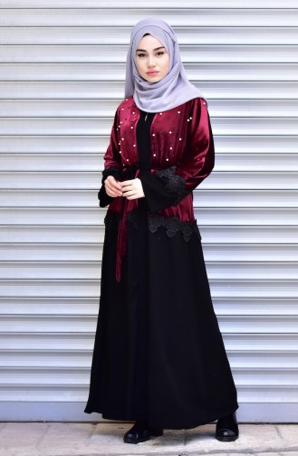 Abaya with Belt and Pearls 7710-04 Claret Red 7710-04