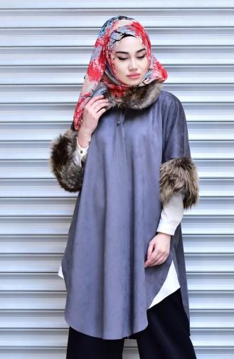Furry Neck Suede Poncho 1848-03 Grey 1848-03