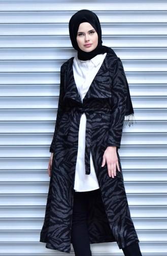 Coat with Belt 18161-06 Black Grey 18161-06