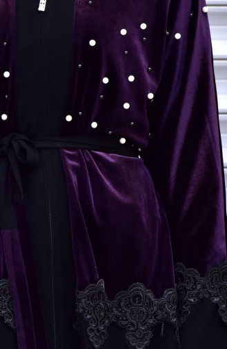 Abaya with Belt and Pearls 7710-02 Purple 7710-02