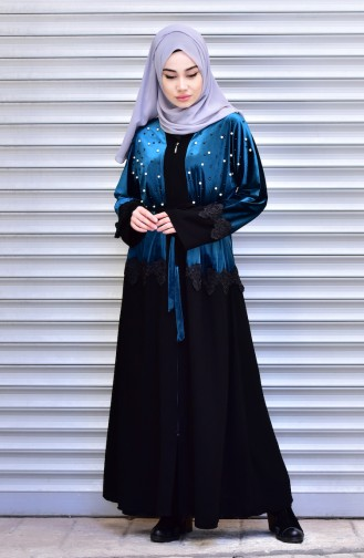 Abaya with Belt and Pearls 7710-03 Petrol 7710-03