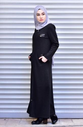 Abaya Détail Fermeture Cuir 2453-04 Noir 2453-04