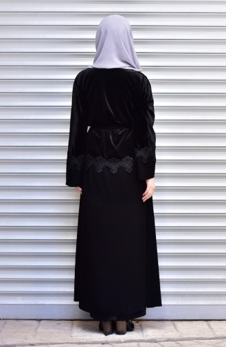 Abaya with Belt and Pearls 7710-05 Black 7710-05