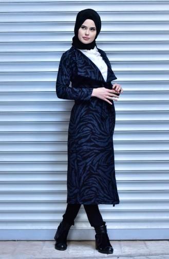 Coat with Belt 18161-04 Black İndigo 18161-04