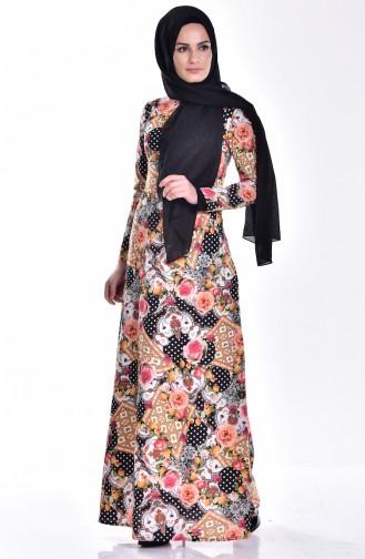 Robe İmprime Numérique 0009-01 Noir Moutarde 0009-01