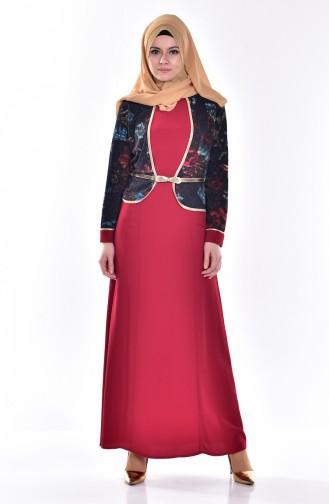 Claret red Dress 7473-02
