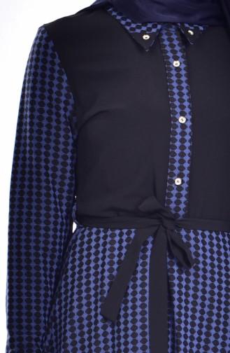 Robe a Motifs et Ceinture 7484-03 Bleu 7484-03