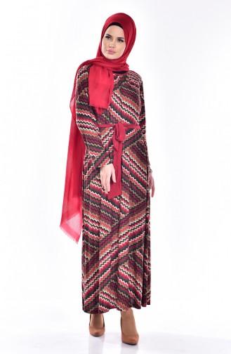 Robe a Motifs et Ceinture 7302-02 Rouge 7302-02