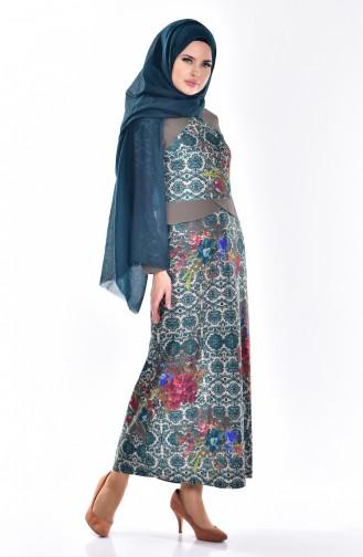 فستان بتصميم منقش  7333-01