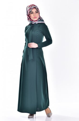 Tie Collar Dress 4417-07 Emerald Green 4417-07