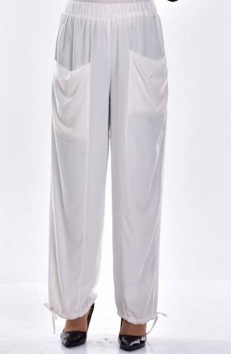 Pantalon Large avec Poches 0550-01 Ecru 0550-01