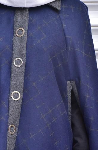 Poncho mit Druckknöpfe 5013-01 Dunkelblau Antrazit 5013-01
