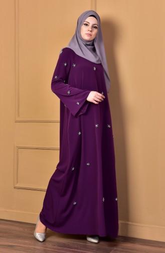 Taş İşlemeli Elbise 0196-01 Mor