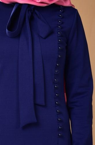 Kravat Yaka Elbise 4417-08 Açık Lacivert
