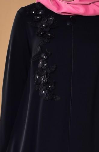 Taş İşlemeli Güpürlü Ferace 5050-01 Siyah 5050-01
