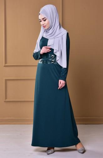 Kleid mit Leder Patchwork 0544-01 Grün 0544-01