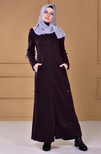 Abaya a Fermeture 2455-01 Pourpre 2455-01