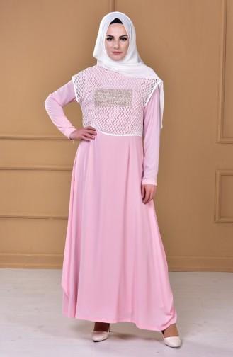 Kleid mit Netz 5039-02 Pink 5039-02