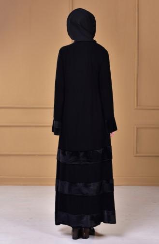 Kadife Garnili Ferace 7739-01 Siyah