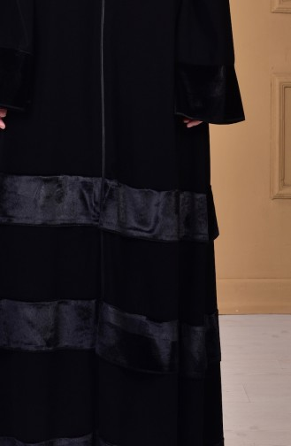 Abaya Garni Velours 7739-01 Noir 7739-01