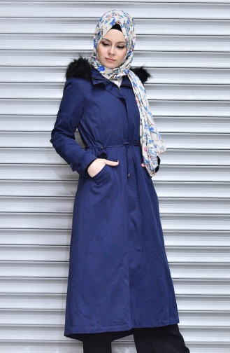 SUKRAN Fur Hooded Long Coat 35766-02 Navy Blue 35766-02