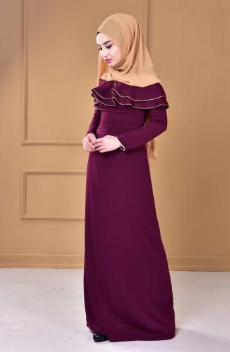 Pelerinli Elbise 0040-01 Mürdüm 0040-01