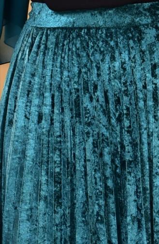 Kadife Pileli Etek 82007-06 Zümrüt Yeşili