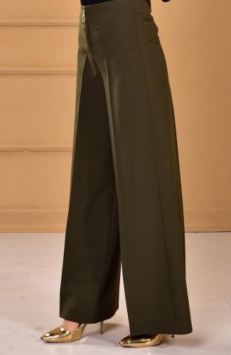 Weite Hose mit Reißverschluss  3095-05 Khaki Grün 3095-05