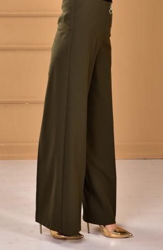 Fermuarlı Bol Paça Pantolon 3095-05 Haki Yeşil
