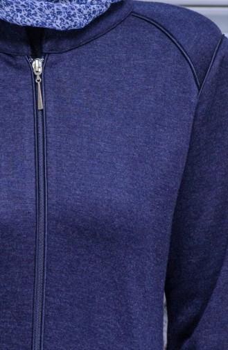 Abaya Detail Poches et Fermeture 7321-03 Bleu Marine 7321-03