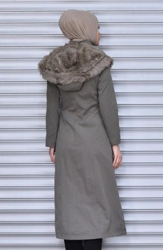 معطف طويل بتصميم موصول بقبعة و سحاب 35779-03 لون أخضر فاتح 35779-03