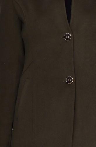 Düğmeli Kaşe Kaban 0012-03 Haki Yeşil