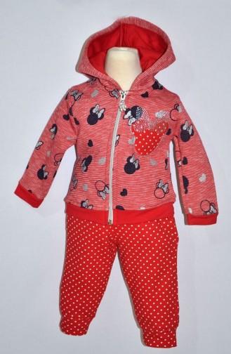 Kız Bebek Eşofman Takım 9282-01 Kırmızı